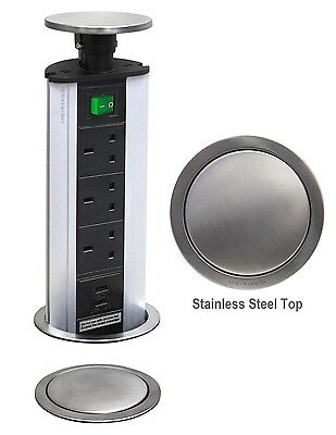 £29.99 • Buy POP UP Power Tower 3 Socket 2 USB With Safety Switch Stainless Steel TOP