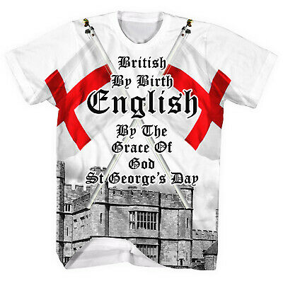 £12.95 • Buy British By Birth English By The Grace Of God All Over SHIRT T St George Day L43