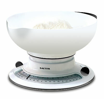 Salter Kitchen Scales - Aquatronic Mechanical Weighing Scales - White - 800WHBKD • 24.99£