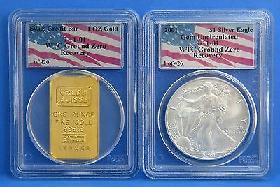 $3100 • Buy 2001 WTC 911 Recovery Gem UNC Silver Eagle & Gold Swiss Credit Coin Set 1 Of 426