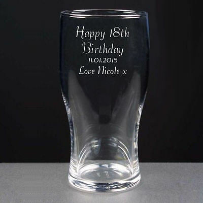 Personalised 1 Pint Tulip Lager Beer Glass Happy 18th Birthday Engraved Gift • 9.99£