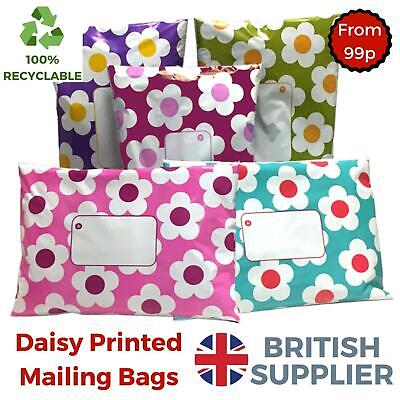 Daisy Mailing Bags Printed Post Poly Plastic Coloured Sack Strong Seal All Sizes • 2.41£