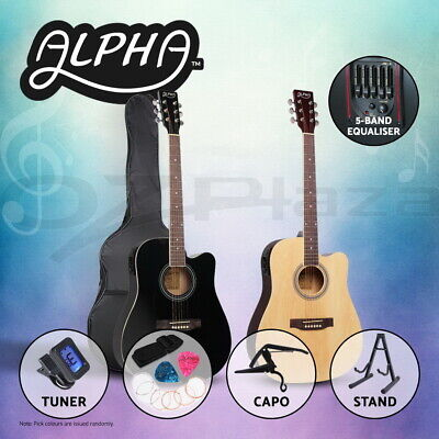 "AU164.90 • Buy Alpha 41"" Inch Electric Acoustic Guitar Wooden Classical Folk Case Steel String"