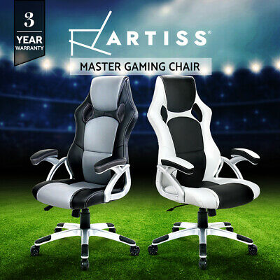 AU185 • Buy Artiss Gaming Chair Office Chair Computer Leather Chairs Seating Racing Black