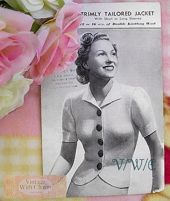 £2.99 • Buy Vintage 1940's Knitting Pattern Lady's Tailored Jacket With 2 Sleeve Lengths