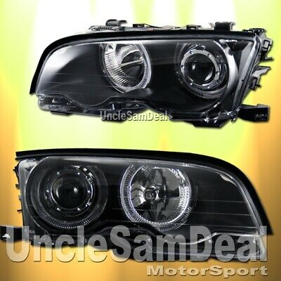 $199.80 • Buy Bmw E46 3-series Coupe Dual Halo Rims Angel Eyes Projector Headlights Black Pair