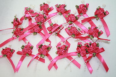 3cm Satin Ribbon Bow With 3 Rose Cluster And Beads X 20 Cerise Pink • 6.50£