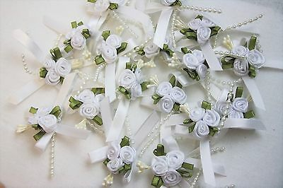 3cm Satin Ribbon Bow With 3 Rose Cluster And Beads X 20 White • 6.50£