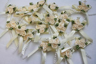 3cm Satin Ribbon Bow With 3 Rose Cluster And Beads X 20 Cream • 6.50£