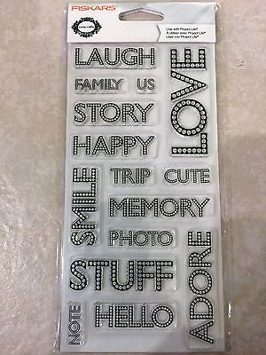 £2.68 • Buy Clear Acrylic Stamp Set By Fiskars Stamps Journaling Words Family 103610-1001