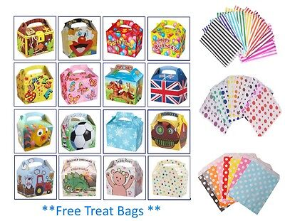 £5.99 • Buy 15 Party Boxes - Themed Character Loot Treat Box - Plus 15 FREE Paper Bags