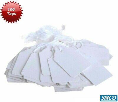 £2.35 • Buy 100 WHITE PRICE TAGS String TIE ON Price Label 37 X 24mm JEWELLERY Gift BY SMCO