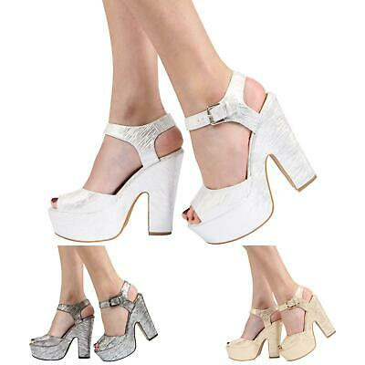 Womens Ladies Platform High Heel Peep Toe Ankle Strap Sandals Shoes Size 3-8 • 16.99£