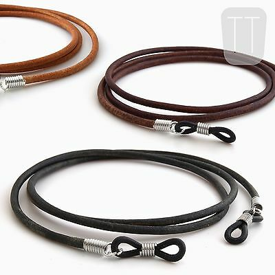 100% REAL LEATHER Spectacles Reading GLASSES CORD Chain Neck Strap Lanyard • 4.99£