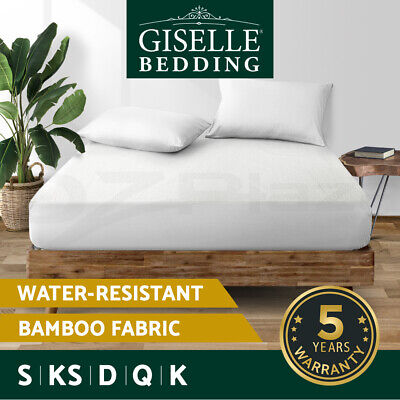 AU26.90 • Buy Giselle Waterproof Mattress Protector Queen Bamboo Cover Fully Fitted Four Sizes