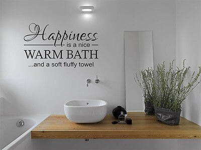 Bathroom Quote - Happiness Is ..., Wall Art Sticker, Modern Decal Transfer • 15.95£