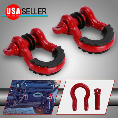 $22.59 • Buy 2PCS 3/4  Red 4.75 Ton D-Ring Bow Shackles Kit With Black Isolators
