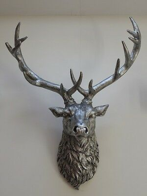 Large Silver Stag, Wall Art, Animal Head, Stag Head,large Wall Mounted Deer Head • 440.80£