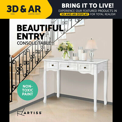 AU109.95 • Buy Artiss Hall Console Table Hallway Side Dressing Entry Wooden French Drawer White