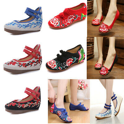 £16.14 • Buy UK Women Ladies Floral Cotton Chinese Embroidered Flower Flat Shoes Mary Jane G*