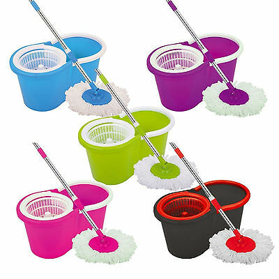 £12.95 • Buy 360° Floor Magic Spin Mop Bucket Set Microfiber Rotating Dry Heads With 2 Heads