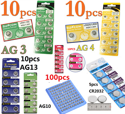 AU3.99 • Buy 100pcs AG4 AG3 AG10 AG13 CR2016 CR2032 3V Watch Button Coin Cell Battery 1.55V
