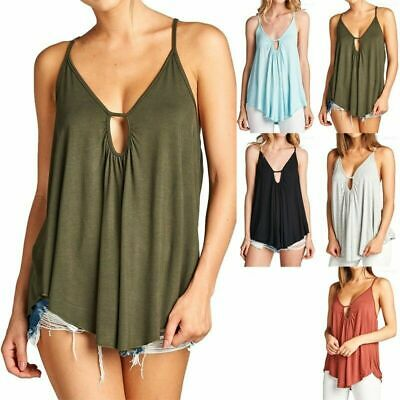Women's Spaghetti Strap Solid Loose Fit Cross Back String Tie Tank Top ONE SIZE • 18.08£