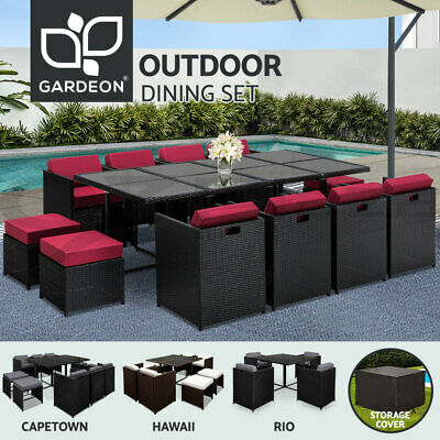 AU672 • Buy Gardeon Outdoor Furniture Dining Set Table And Chairs Patio Wicker Garden Rattan