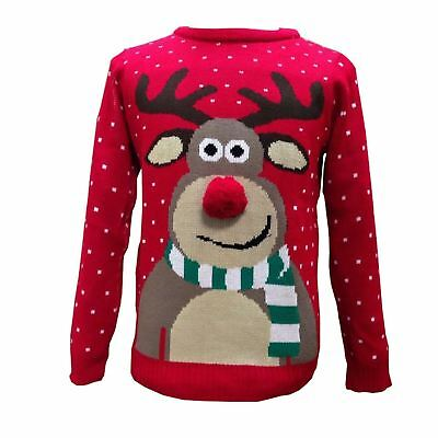 New Kids Boys Girls Xmas Rudolph Reindeer Pom Nose 3D Novelty Christmas Jumper • 11.95£