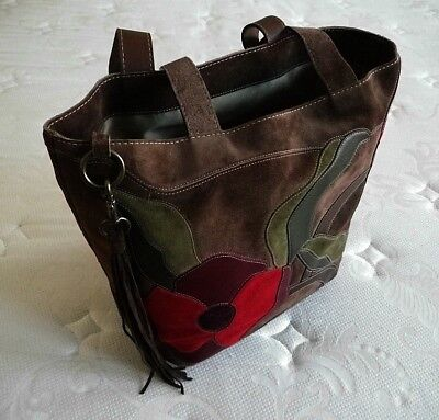 NEW Coach Ltd Ed Dk Brown Suede Flower Red Floral XL Poppy For Peace Tote  Bag 11946eee90