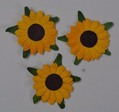 £1.55 • Buy 50 YELLOW SUNFLOWERS 2-layer (2cm) Mulberry Paper Flowers Miniature Card Wedding
