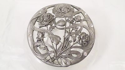VIntage Potpourri Jar With Pewter Floral Rose & Clear Stone Lid • 11.22£