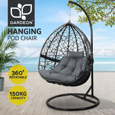 AU499.95 • Buy Gardeon Outdoor Furniture Swing Chair Lounge Egg Hammock Hanging Wicker Black
