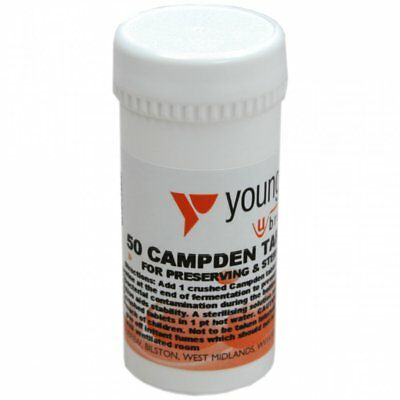 £6.25 • Buy Youngs Campden Tablets Wine Making Preserve Sterilise Brewing Home Brew 50 Pack