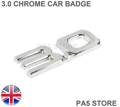 3.0 Full Chrome Car Badge - One Piece EMBLEM Turbo TDI Racing Turbo V6 V8 Van UK • 4.49£