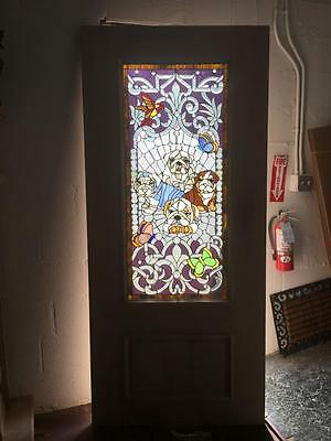 $1500 • Buy Beautiful 36  X 80  Custom Solid Mahogany Stained Glass Door With Dogs
