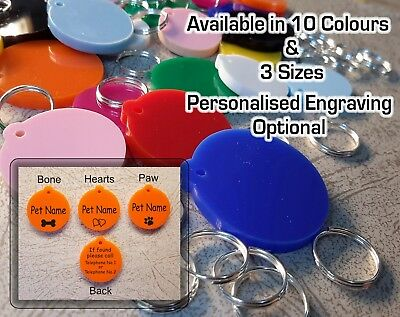 £2.40 • Buy ROUND Pet ID Tag,  DOG / CAT TAGS, VARIOUS SIZES & COLOURS, ENGRAVING OPTIONS