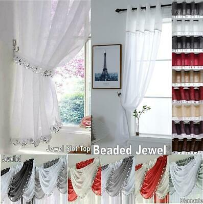 £6.99 • Buy Diamante JEWELLED Glitter Sequin Sparkle Voile Swag Beaded Jewel Curtain Panel