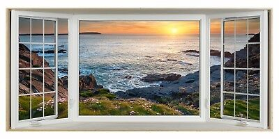 £32.99 • Buy Cornwall Cliff Sea Beach 3D Effect Bay Window Canvas Picture Wall Art Prints