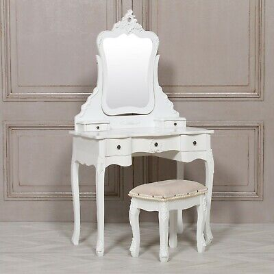 French Style Vanity White Dressing Table Makeup Desk With Mirror And Stool Set • 280£