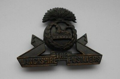 The Lancashire Fusiliers   Officers Cap Badge  Bronze Colour With Blades   • 36£