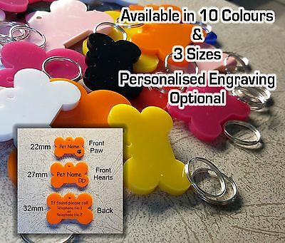 BONE SHAPE Pet ID Tag, DOG / CAT TAGS, VARIOUS SIZE & COLOURS, ENGRAVING OPTIONS • 2.55£