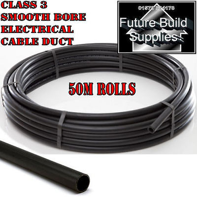 Electric Cable Duct Ducting 50mm ID 60mm OD X 50m Smooth Bore Coil Black  • 195£