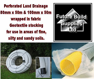 80mm X 50m & 100mm X 50m Perforated Land Drain Wrapped In Non Woven Geotextile • 167.20£