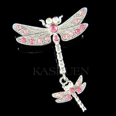 £34.06 • Buy Pink DRAGONFLY Mother Baby Made With Swarovski Crystal Mom Daughter Pin Brooch
