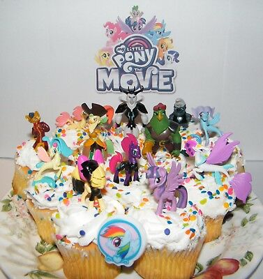 My Little Pony The Movie Cake Toppers Set Of 14 New Figures Sticker And Ring