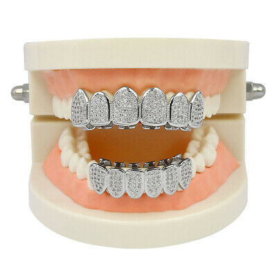 18K Platinum Plated Hip Hop Mouth Teeth Grill Bling Top Bottom Teeth Grills Cap • 11.01£