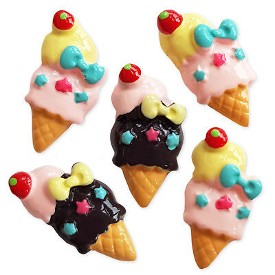 6pcs Scoop Ice Cream Resin Kawaii Flatback Cabochon Embellishments Decoden Craft • 1.99£