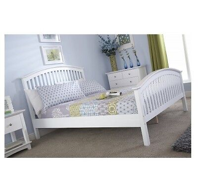 4ft 6  Double White Shaker Style High Foot End Bed Madrid • 190£