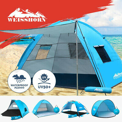 AU46.95 • Buy Weisshorn Pop Up Pole Camping Tent Beach Hiking Shade Shelter Fishing 3-4 Person